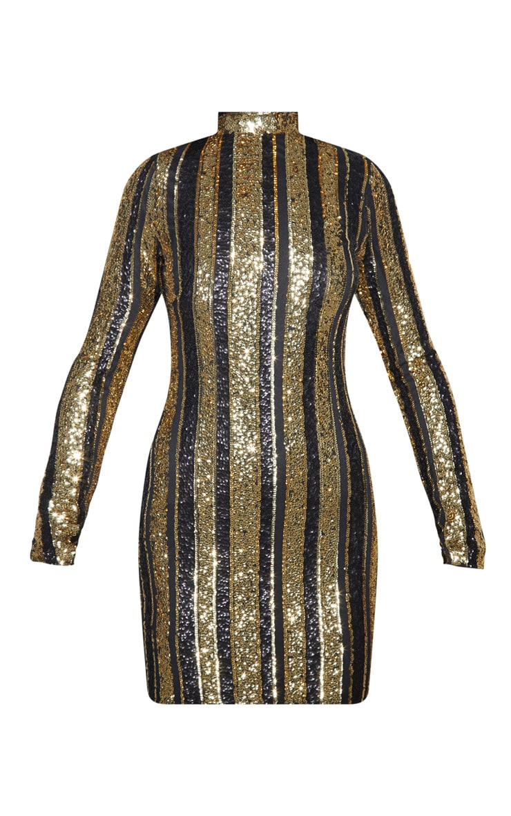 Black Sequin Stripe Bodycon Dress 5