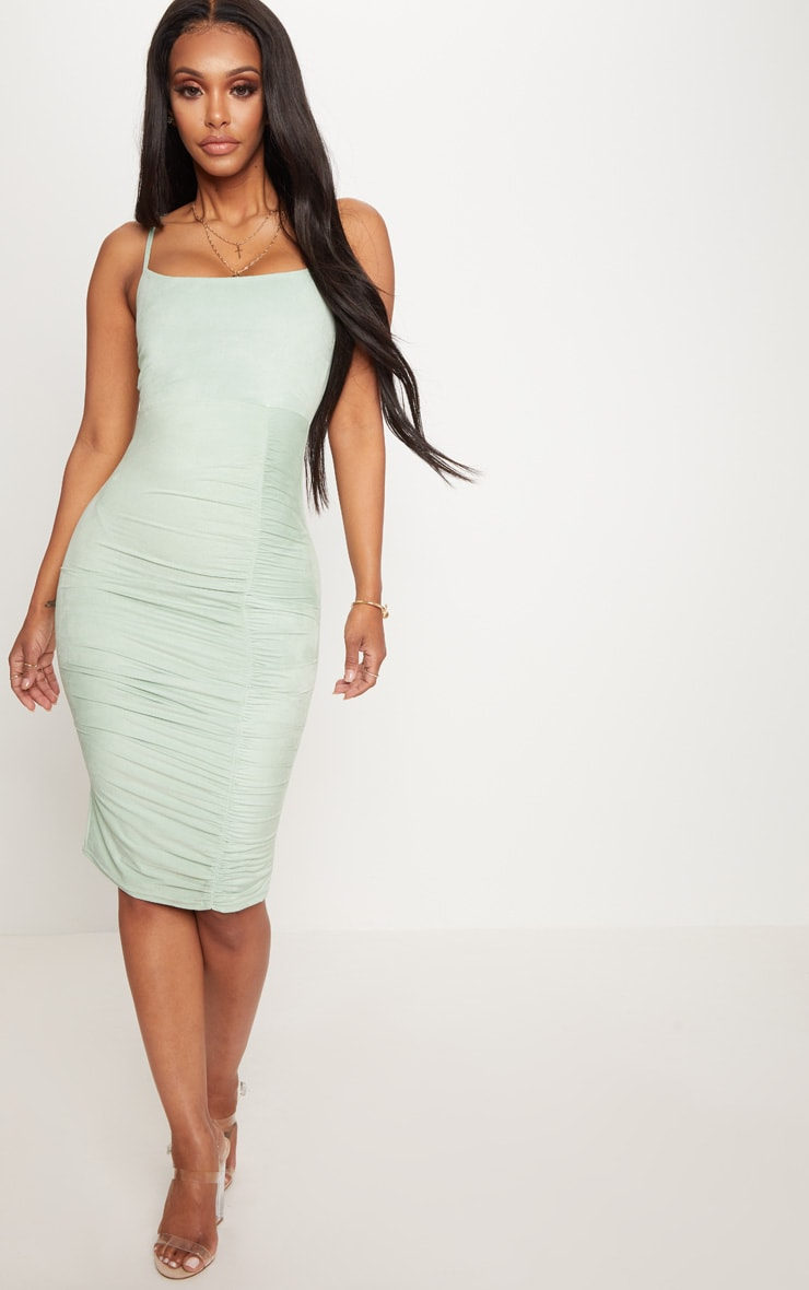 Shape Sage Green Faux Suede Ruched Midi Dress 4