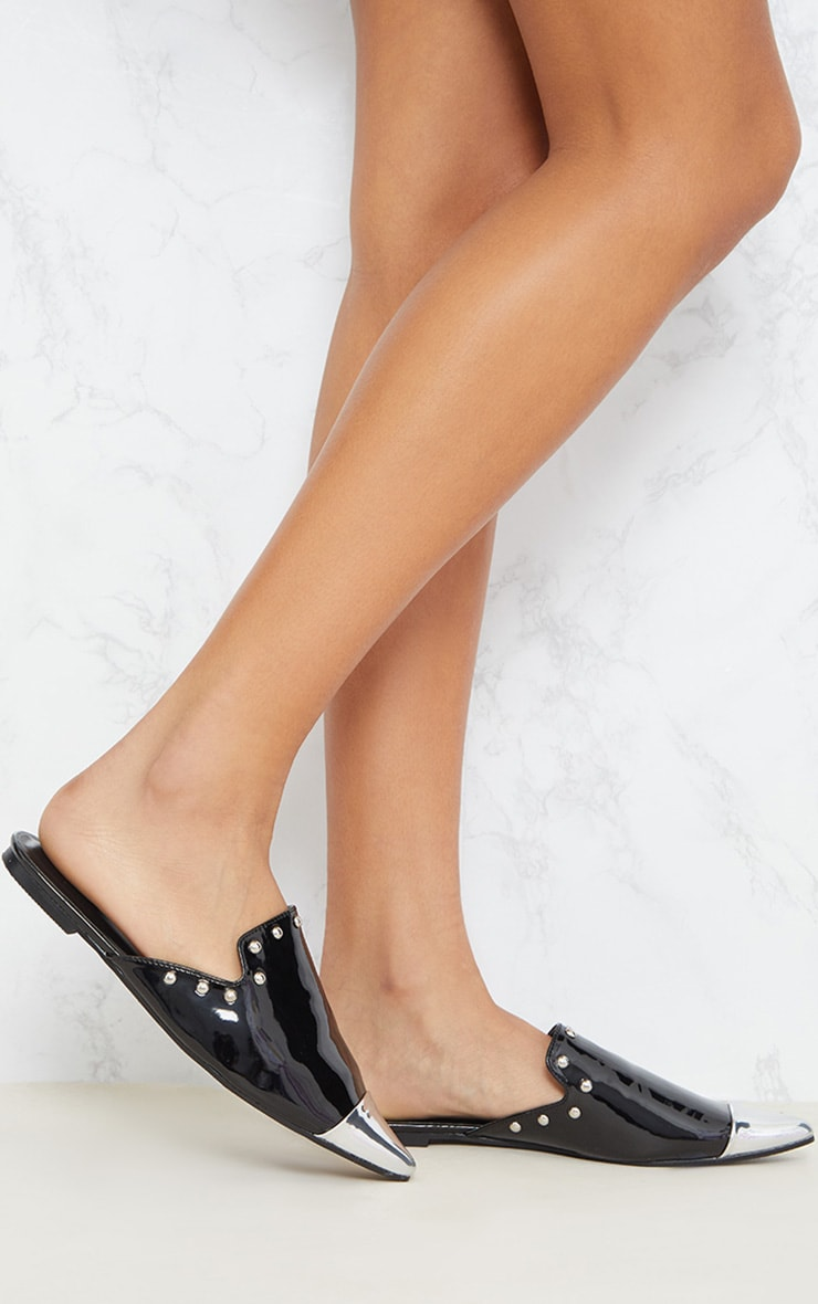 Black Studded Point Metal Toe Mule  2