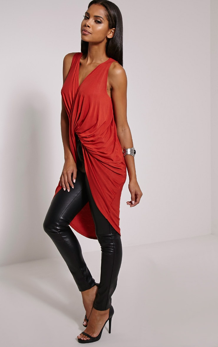 Rust Long Twist Front Sleeveless Top 4