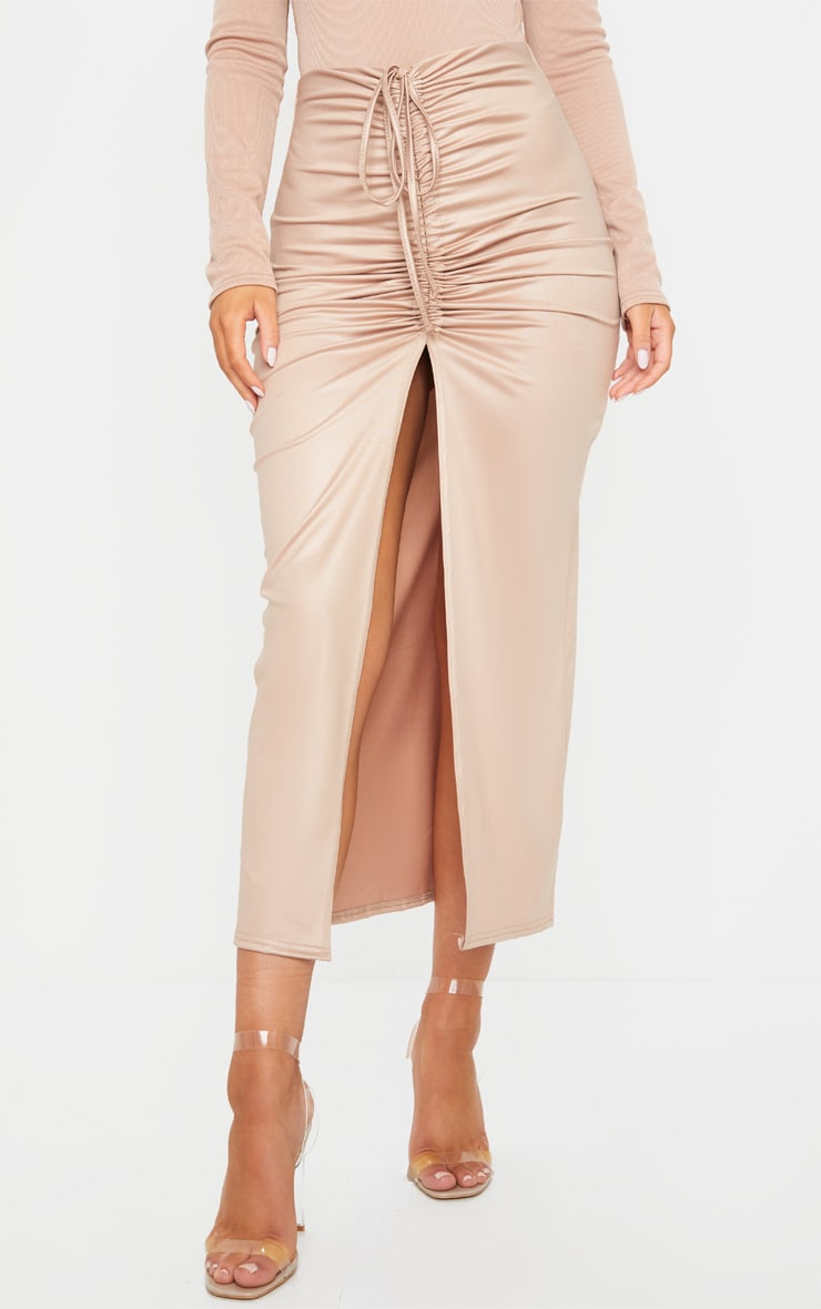 Stone Coated Ruched Split Front Midaxi Skirt 2