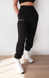 PRETTYLITTLETHING Black Embroidered Jogger 2
