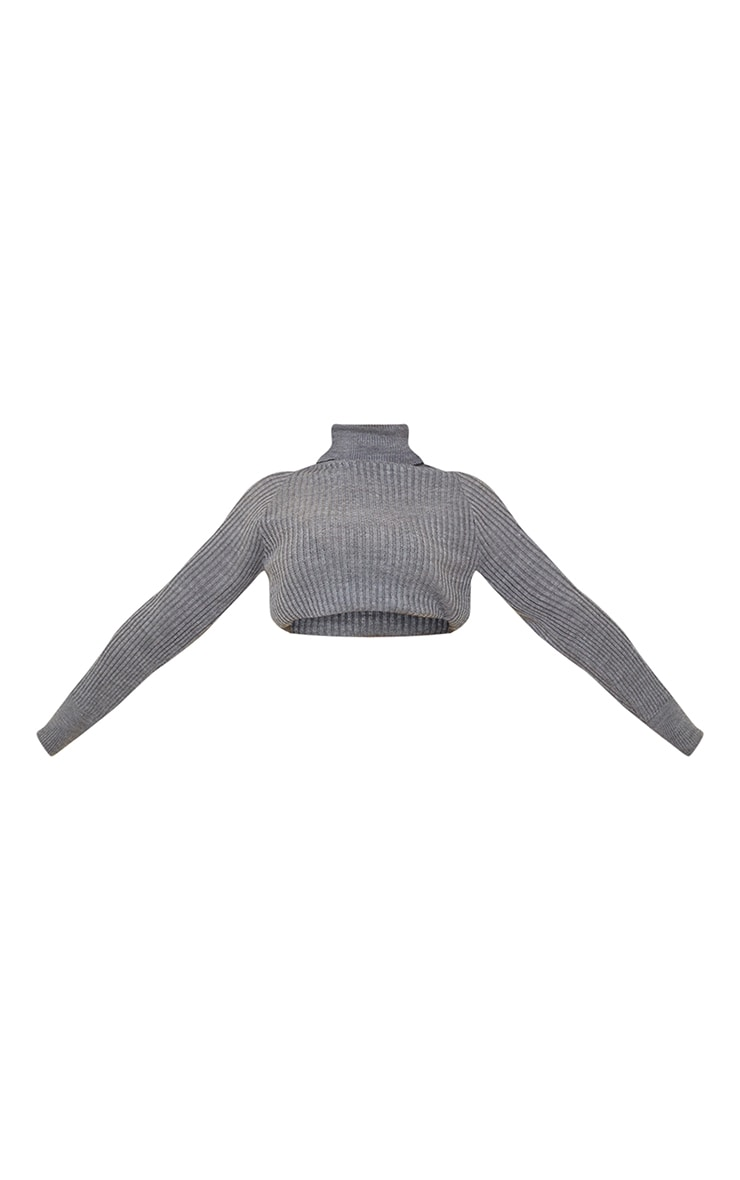 Tall Dark Grey Roll Neck Cropped Knitted Sweater 5