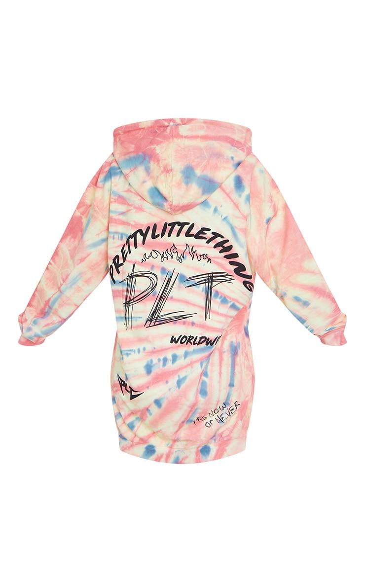 PRETTYLITTLETHING Multi Graphic Tie Dye Sweater Dress 6