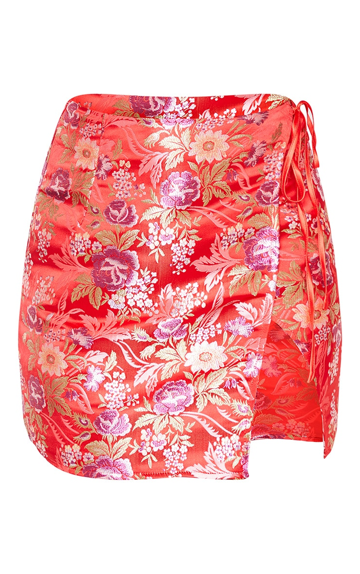 Red Oriental Wrap Detail Mini Skirt 3