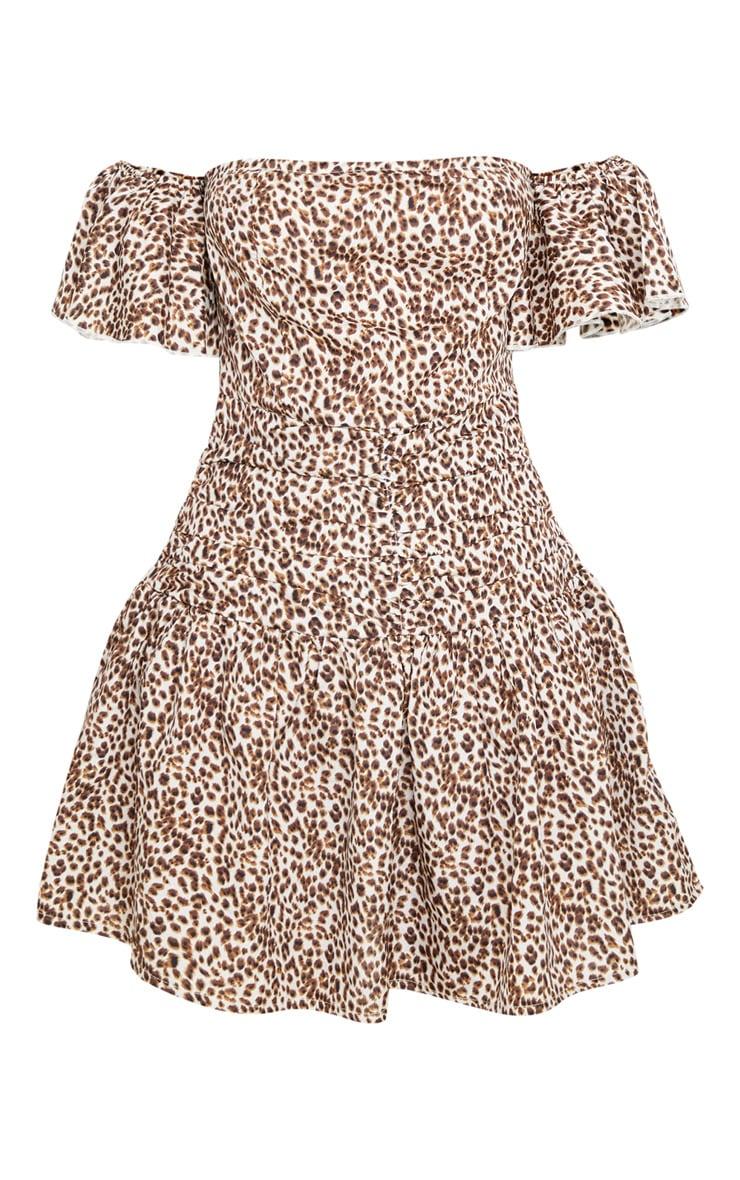 Tan Leopard Print Bardot Pleated Waist Skater Dress 3