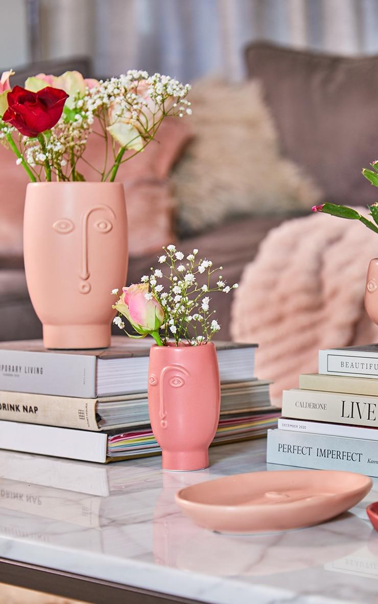 Mini Face Vase Matte Red 1