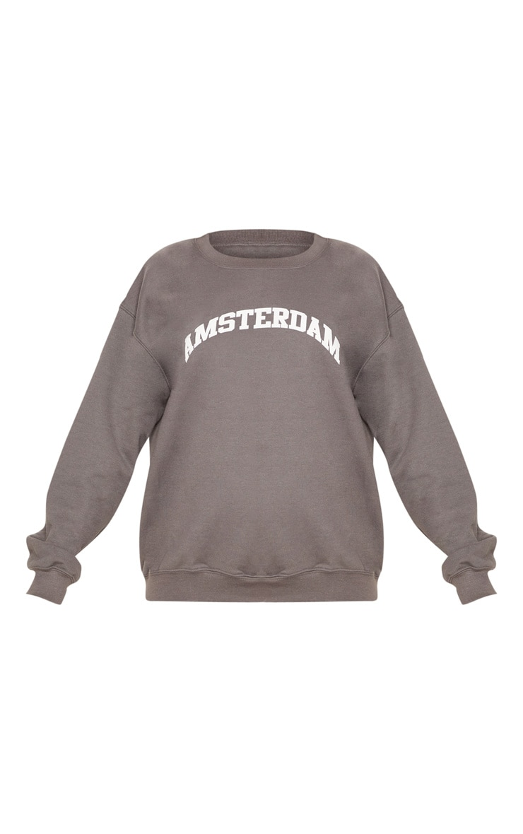 Charcoal Amsterdam Slogan Oversized Sweater 3
