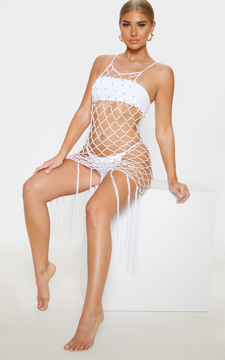 White Beaded Knitted Fringe Hem Dress  4