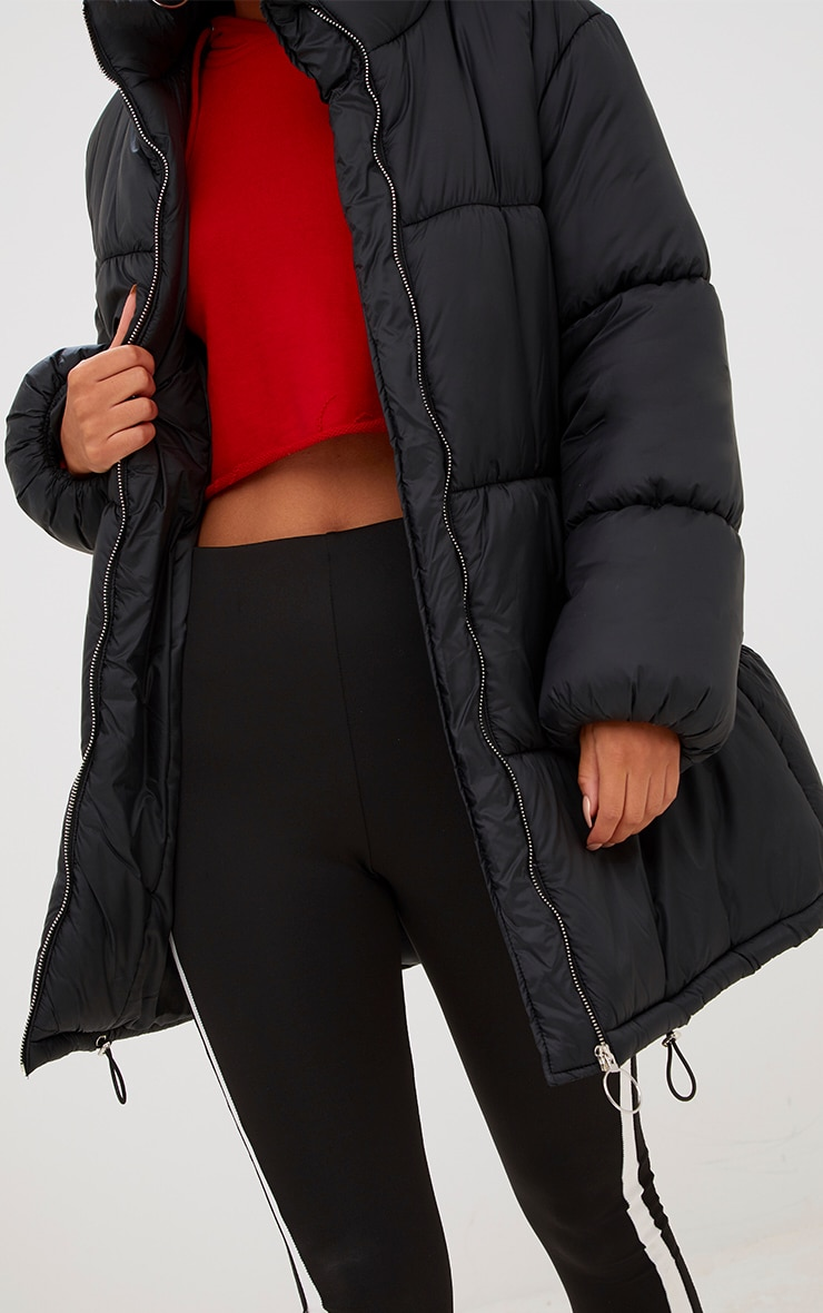 Black Ring Pull Longline Puffer Jacket 5