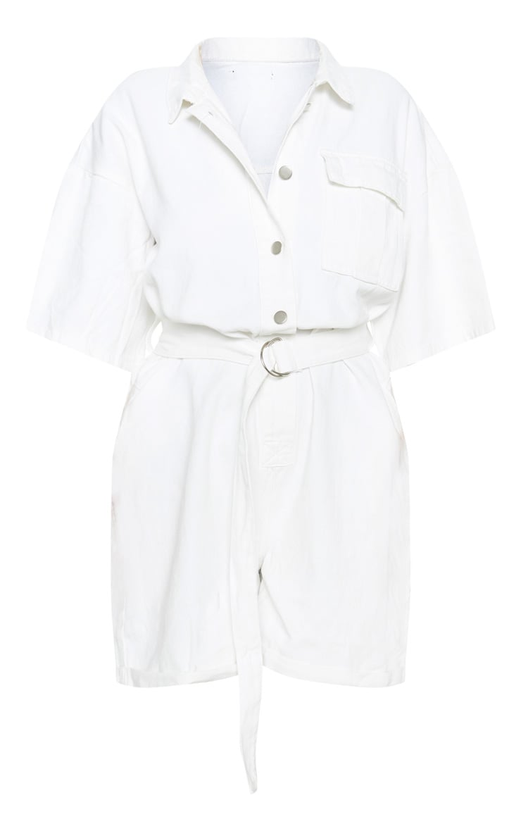 White Shorts Denim Playsuit 3