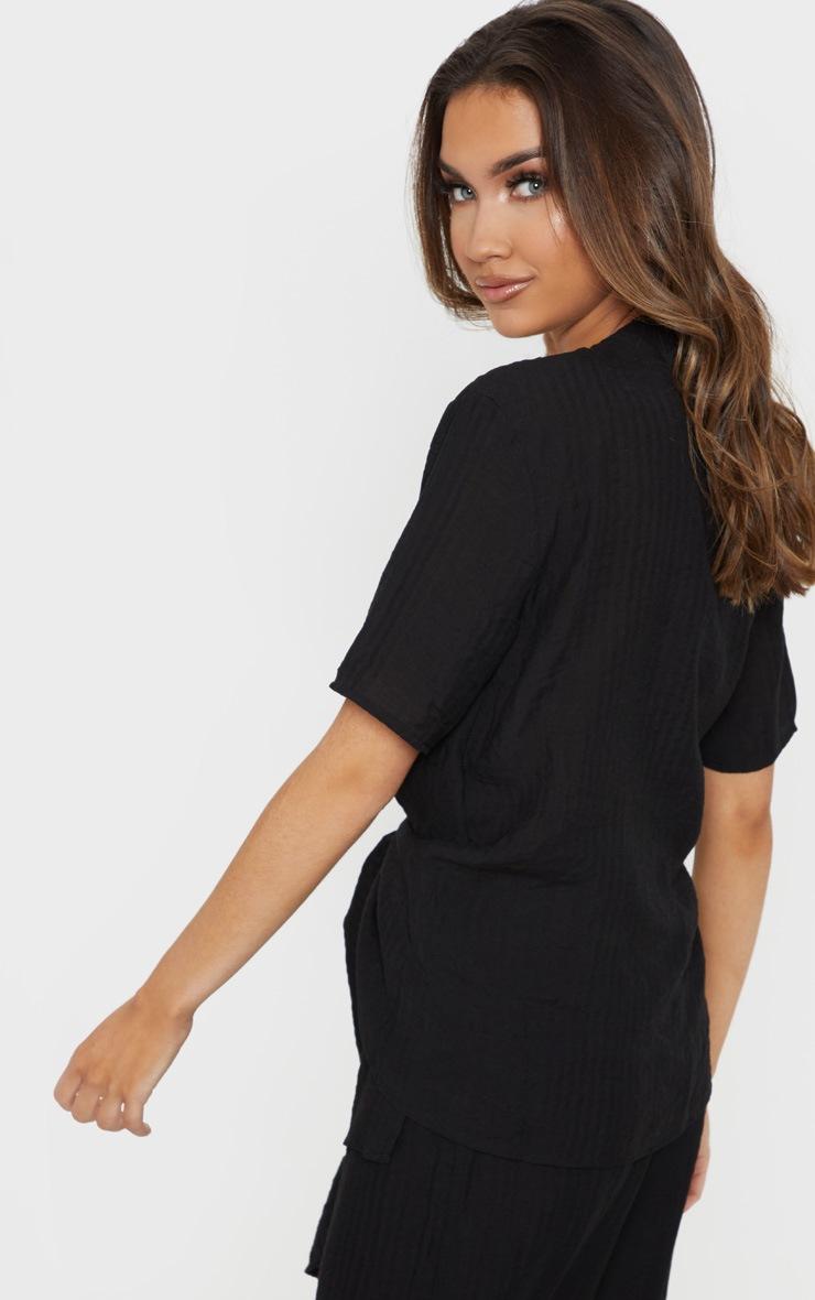 Black Longline Short Sleeve Shirt 2