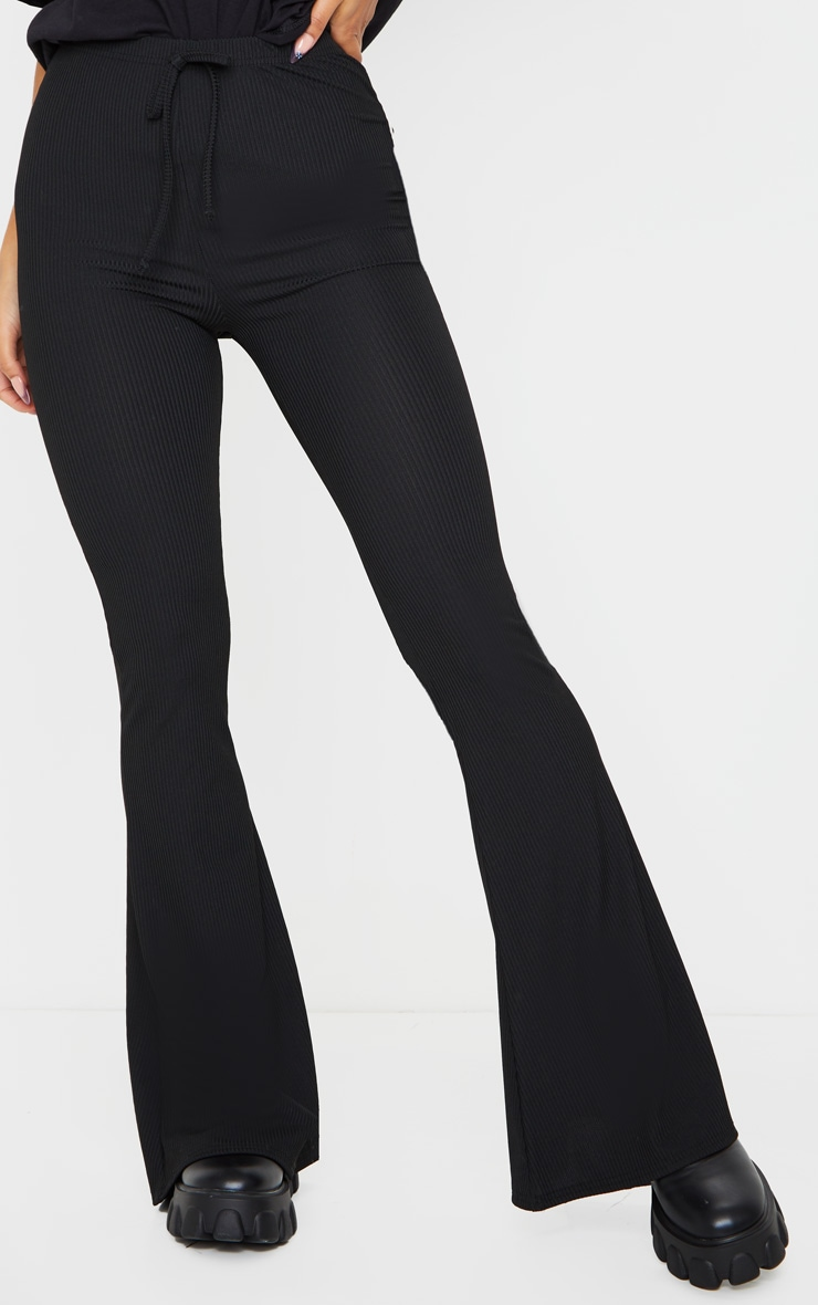 Black Ribbed Tie Detail Flare Leg Pants 2