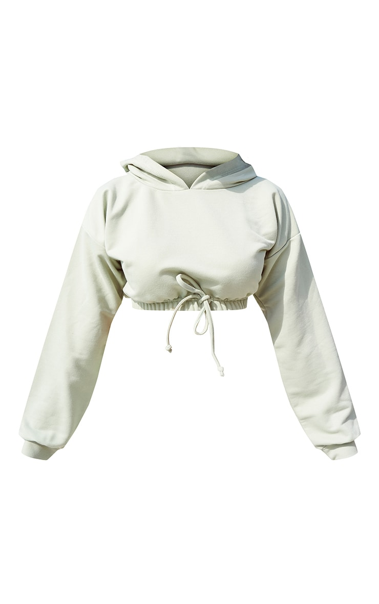 Sage Green Lightweight Raw Hem Cropped Hoodie 5