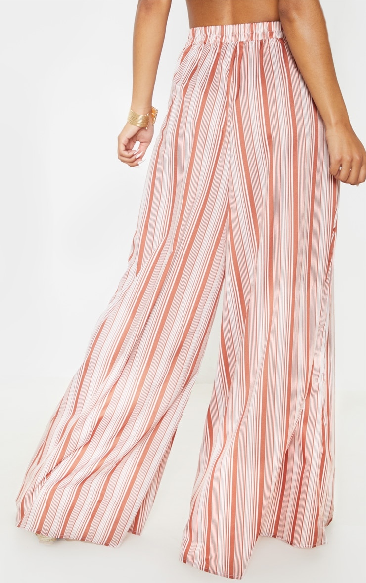 Rust Stripe Extreme Wide Leg Floaty Trouser 3