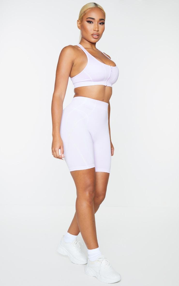 PRETTYLITTLETHING Shape Lilac Badge Gym Shorts 1