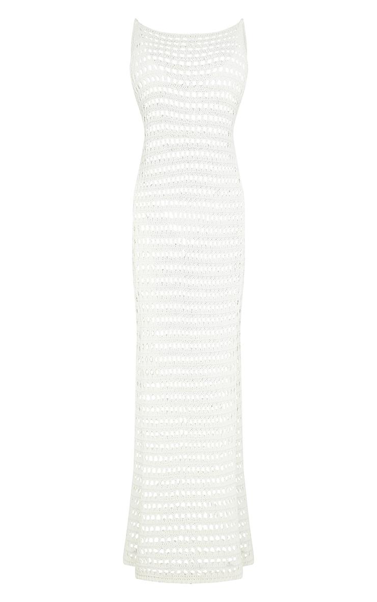 Tall Cream Crochet High Split Maxi Dress 5