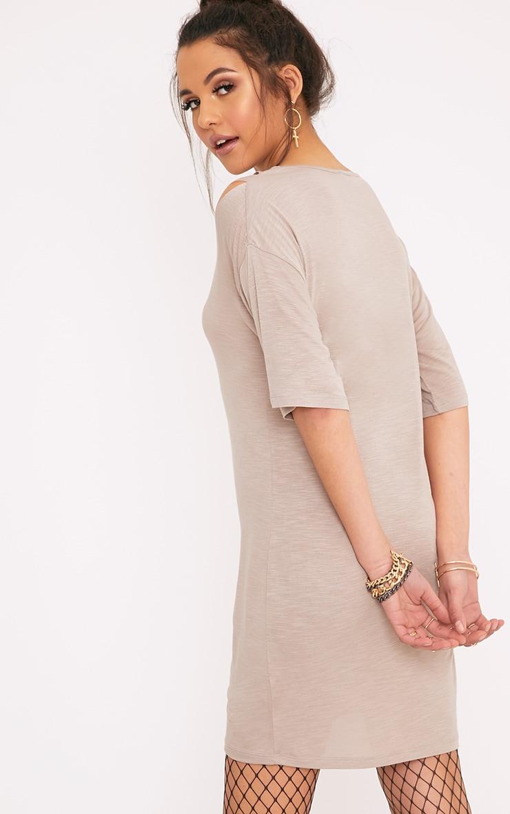 Laviina Taupe Jersey Slashed Cut Out Detail T shirt Dress 2