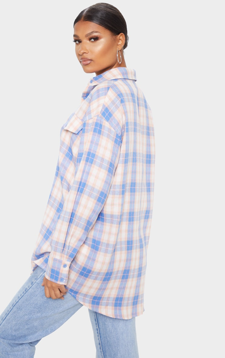 Pale Blue Checked Oversized Pocket Detail Shirt 2