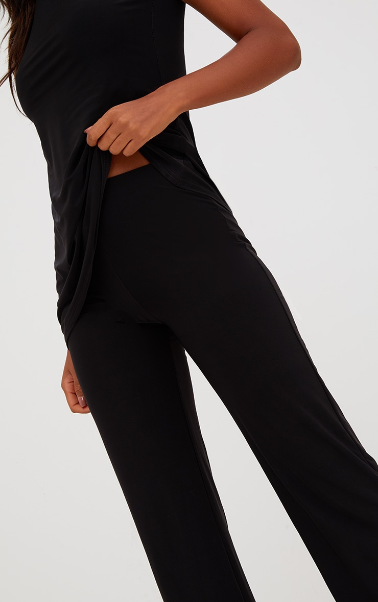 Black Double Layer Slinky Wide Leg Trousers 5