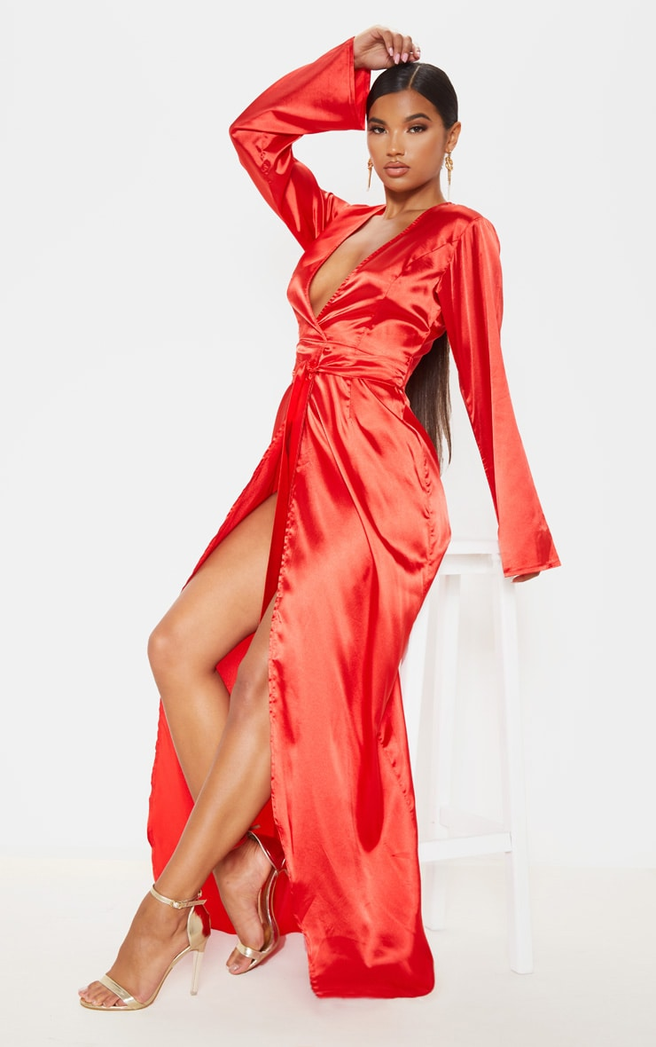 b3c1b2049 Red Satin Kimono Maxi Dress | PrettyLittleThing