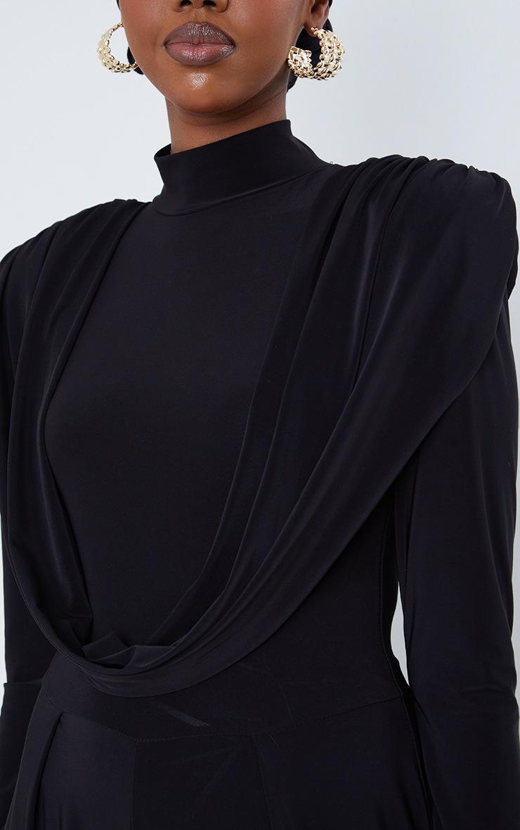 Black Slinky Drape Detail Pleated Wide Leg Jumpsuit 4