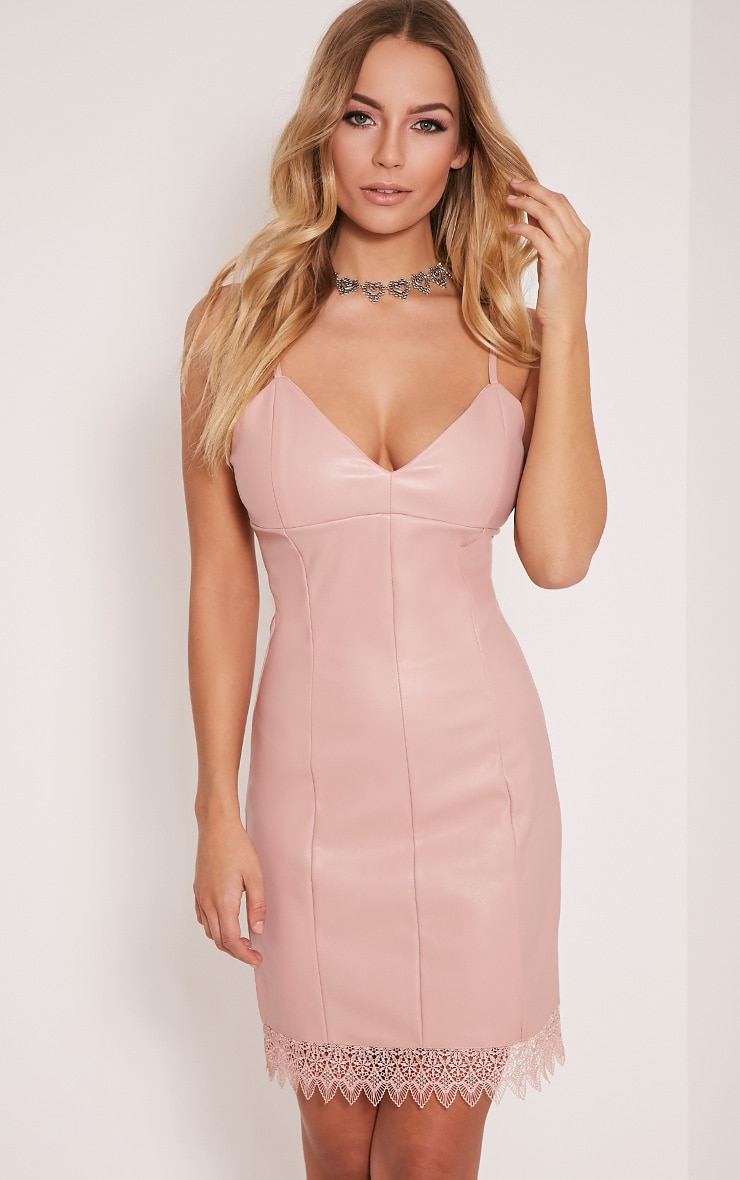 Arliana Rose PU Lace Trim Bodycon Dress 1
