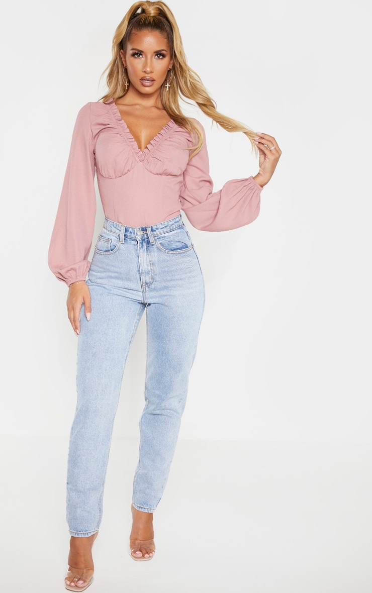 Dusty Rose Milkmaid Frill Cup Bodysuit 4