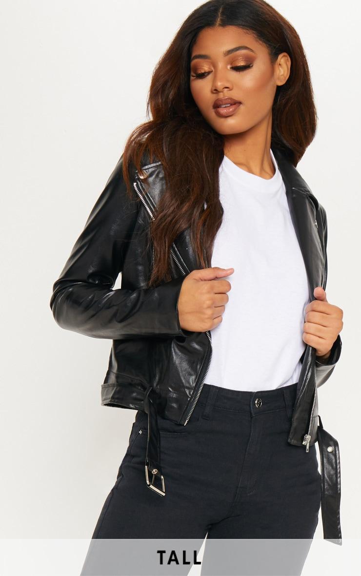 Tall Black Faux Leather Biker Jacket by Prettylittlething