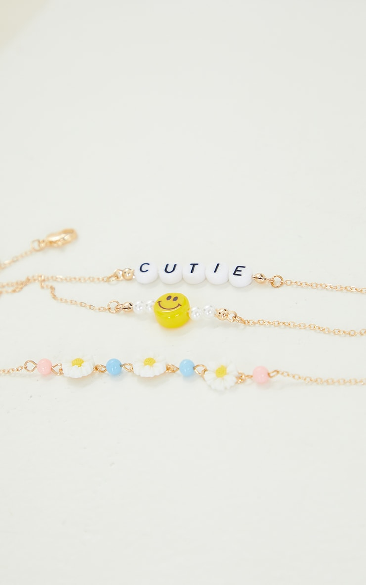 Gold 4 Pack Beaded Flowers and Smiley Face Bracelet Pack 3
