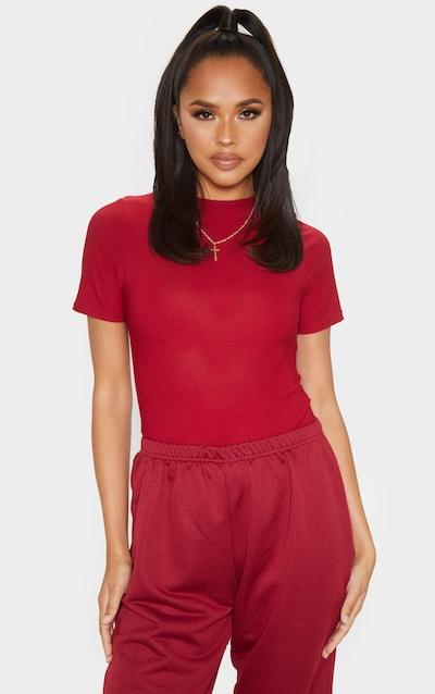 Scarlet Crepe Short Sleeve Thong Bodysuit