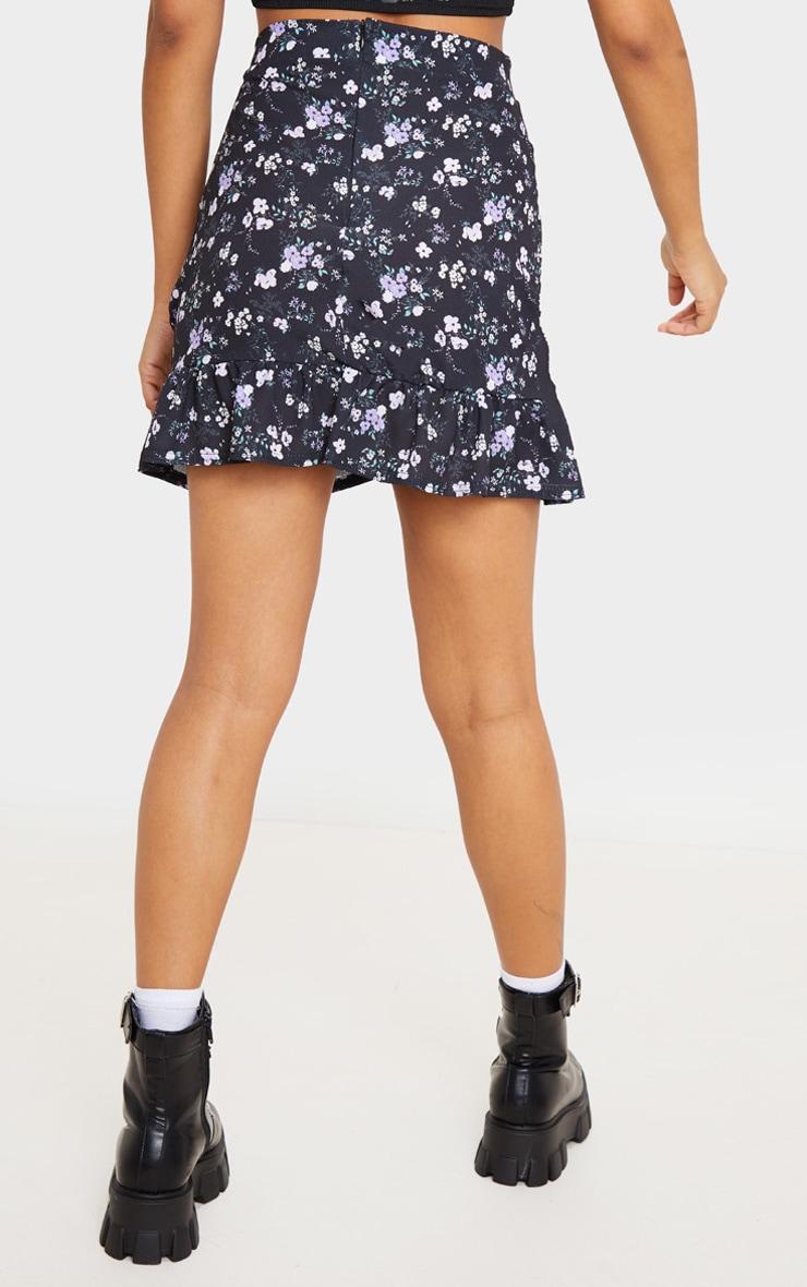 Black Ditsy Floral Frill Hem Wrap Mini Skirt 4
