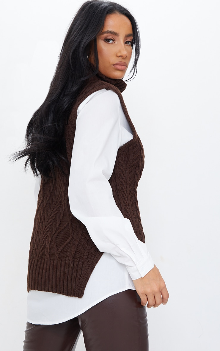 Chocolate Longline Sleeveless Cable Roll Neck Sweater 2