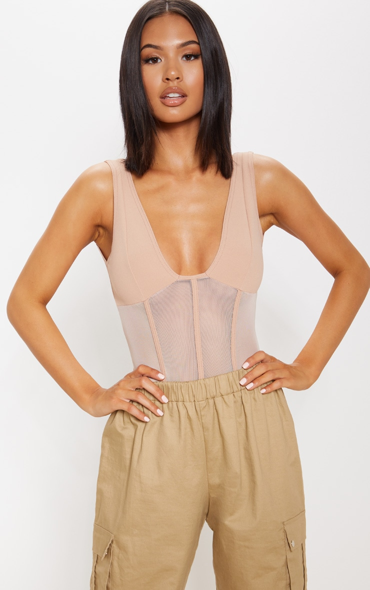 Camel Mesh Detail Caged Bodysuit 1