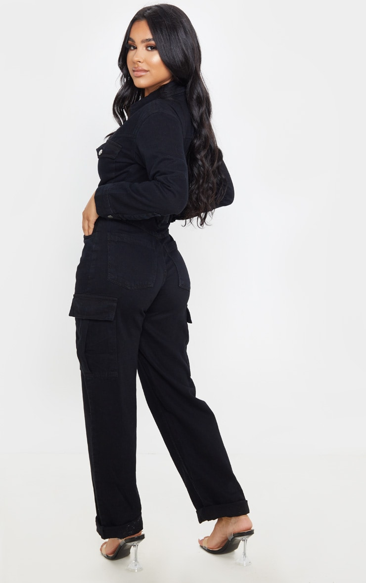 Petite Black Denim Wide Leg Jumpsuit 2