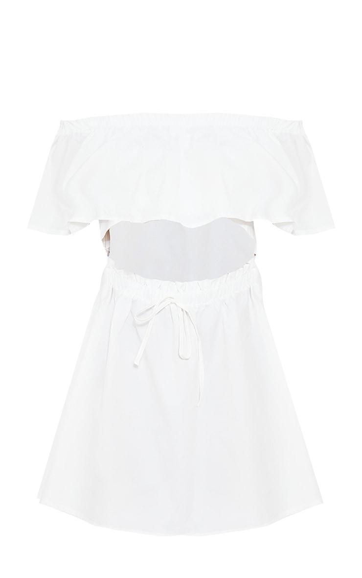 White Woven Frill Detail Cut Out Shift Dress 5