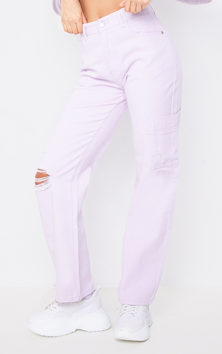Lilac Wide Leg Ripped Cargo Jeans 2