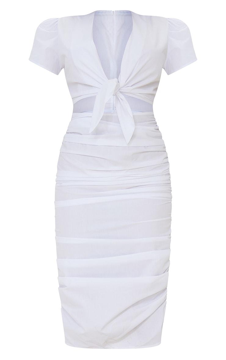 Robe mi-longue manches courtes blanche découpée à jupe froncée et lien frontal 5