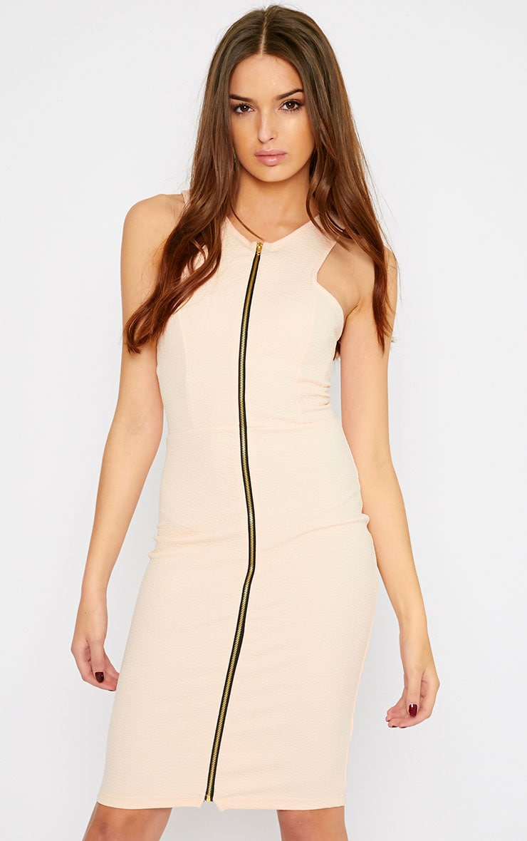 Rumi Nude Zip Front Bodycon Dress 3