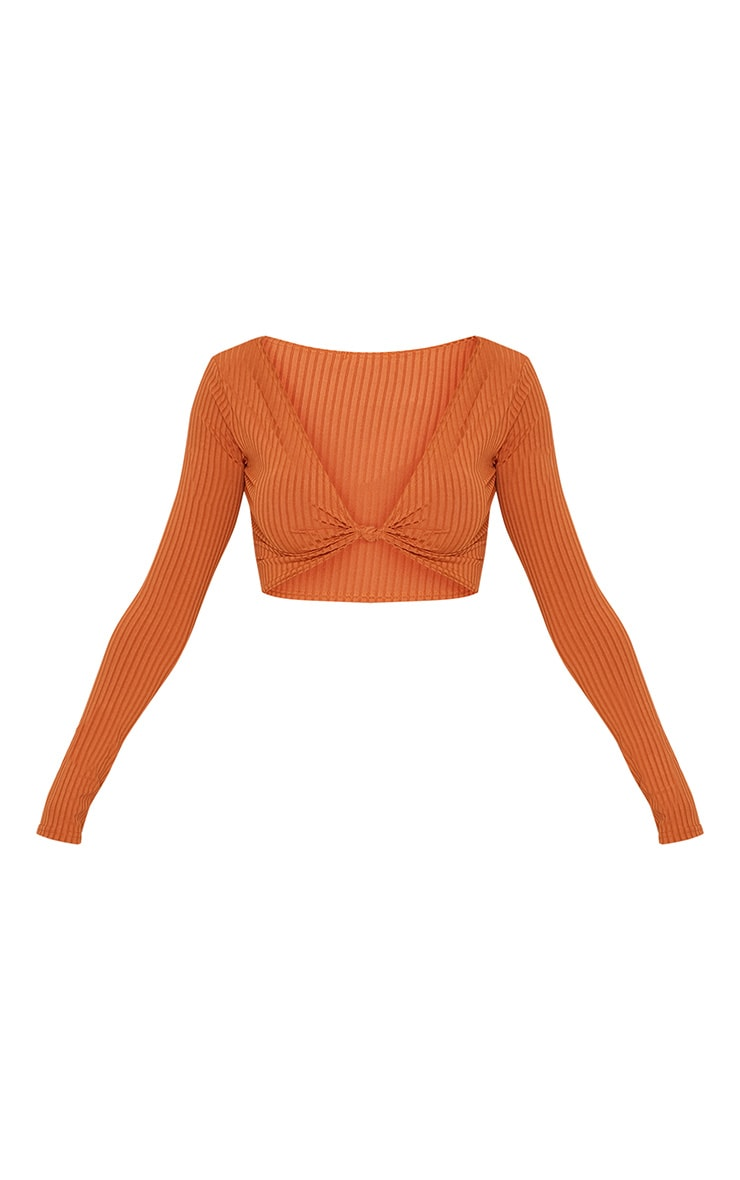 Burnt Orange Knot Front Long Sleeve Crop 3