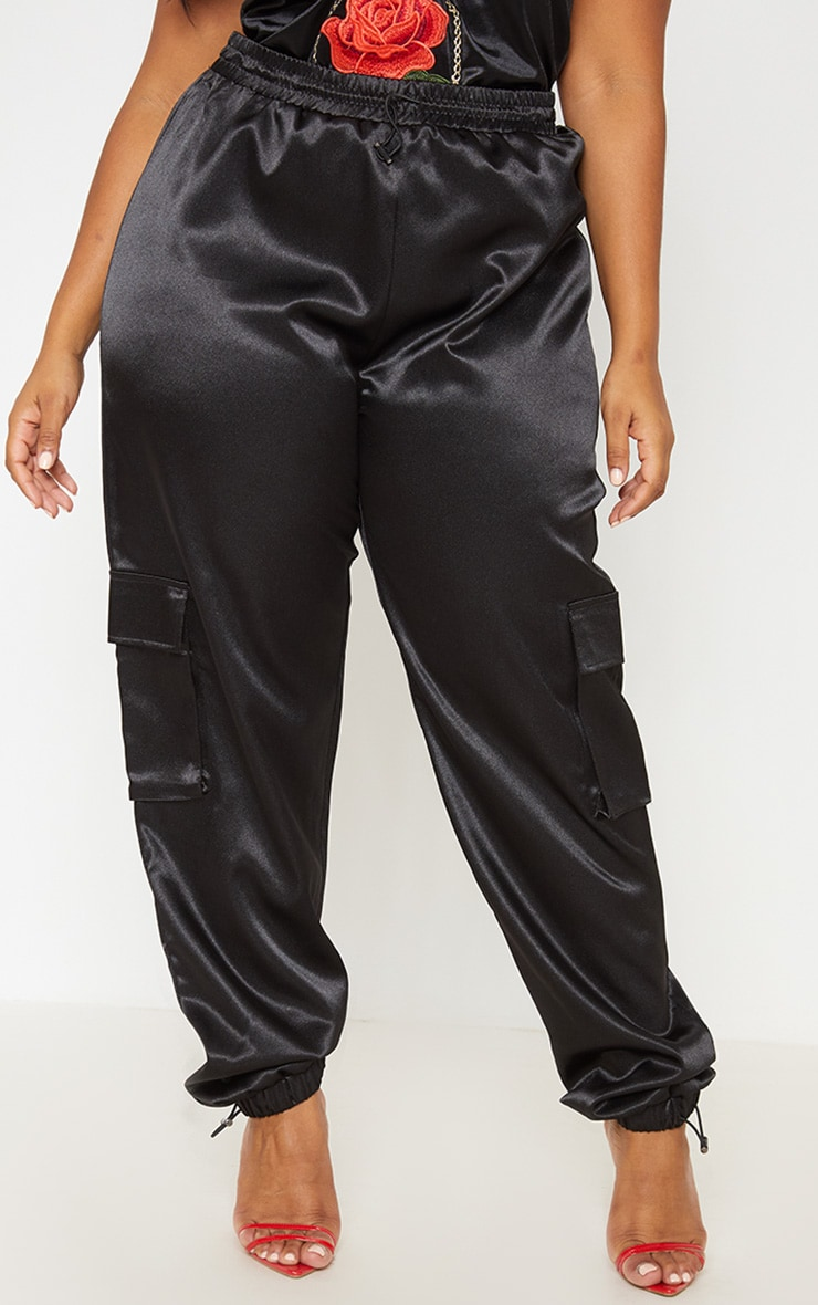 Black Satin Pocket Detail Jogger 3