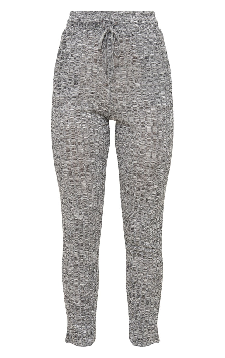 Grey Rib Knit Track Pants 3
