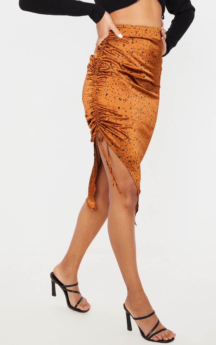 Rust Satin Printed Ruched Side Midi Skirt 2