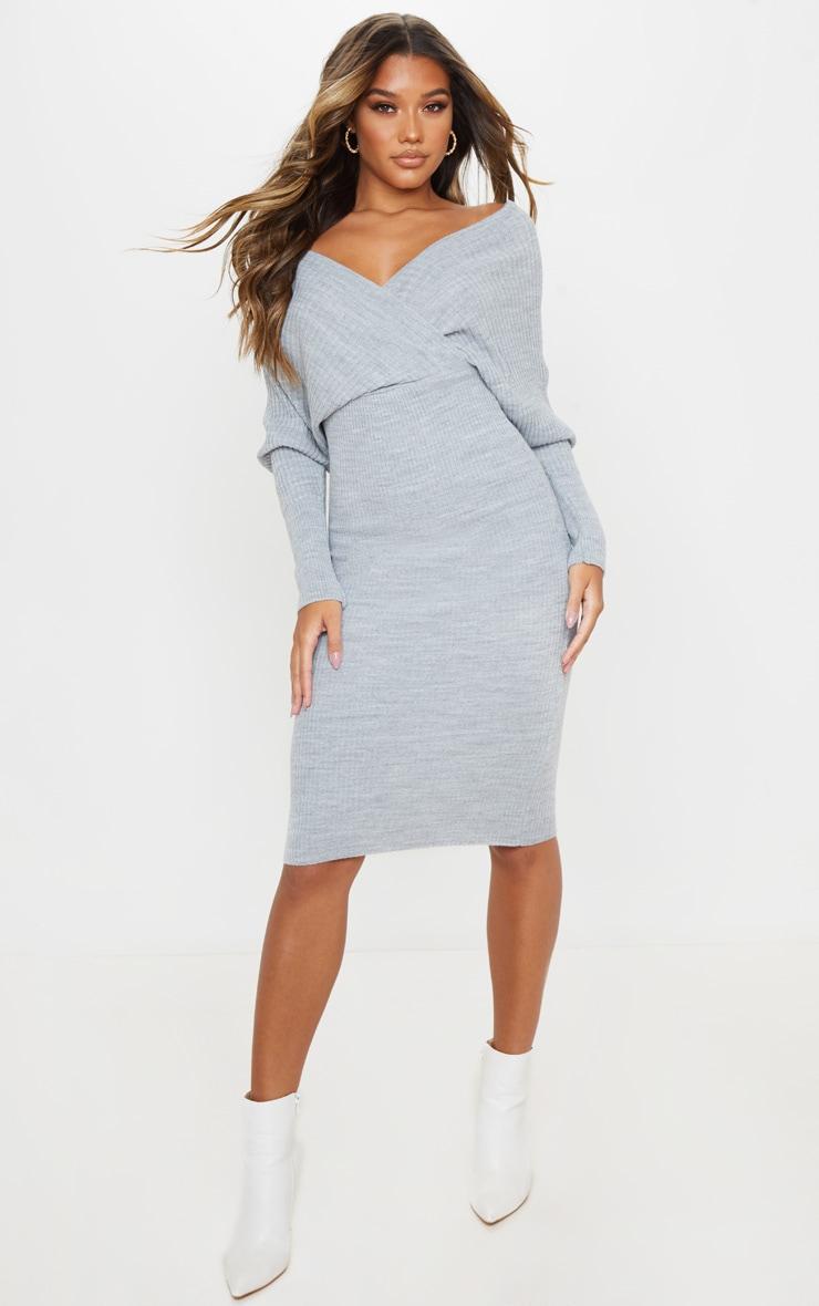Grey Wrap Off The Shoulder Midi Dress 1