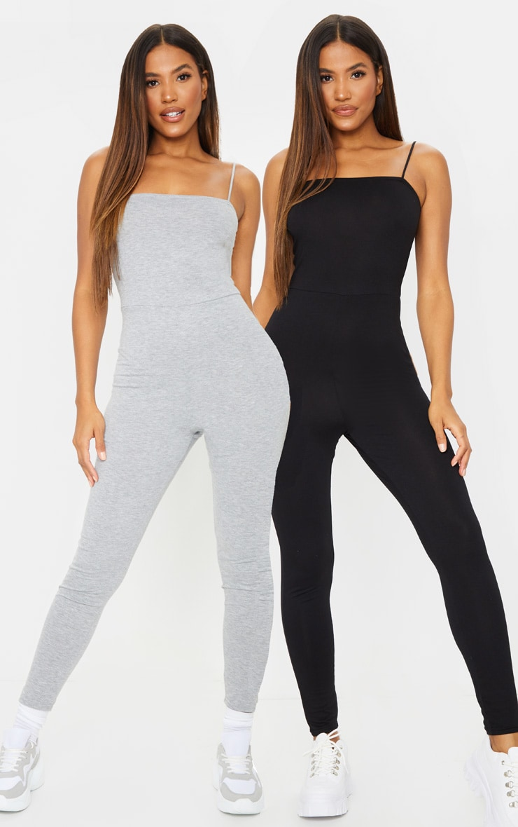 Black & Grey 2 Pack Basic Strappy Jumpsuit 1