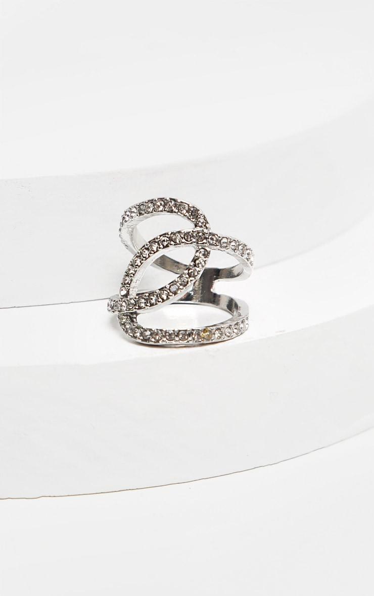 Silver Loop Diamante Ring  3