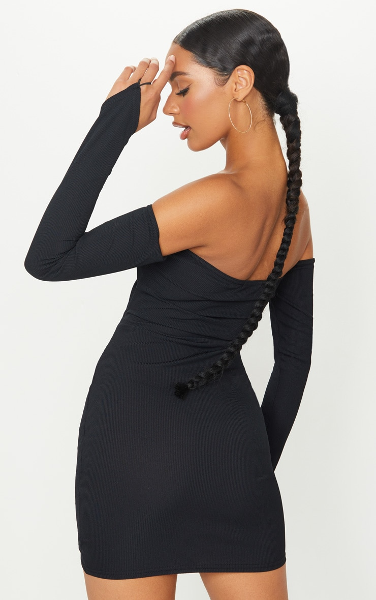 Black Ribbed Double Ruched Bandeau Bodycon Dress 2