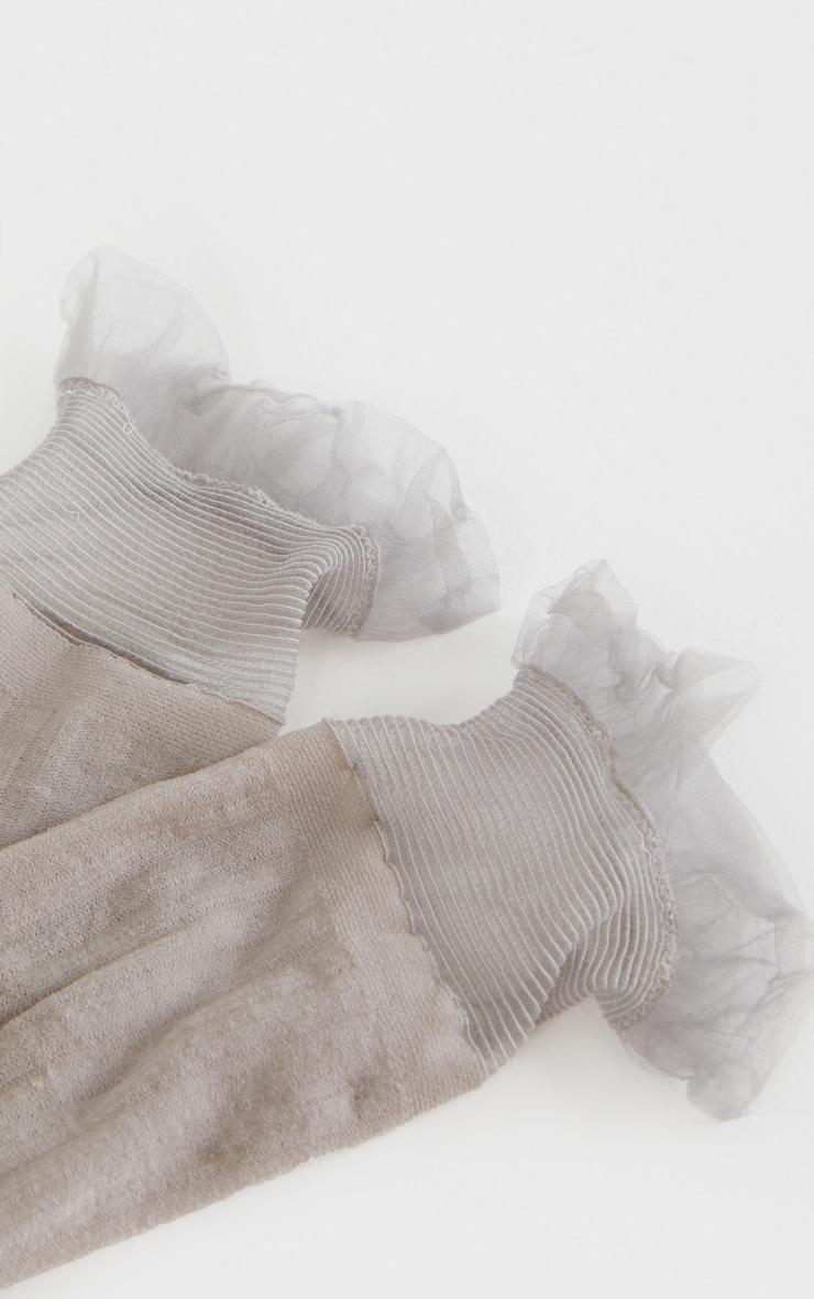 Light Grey Sheer Frill Socks 5