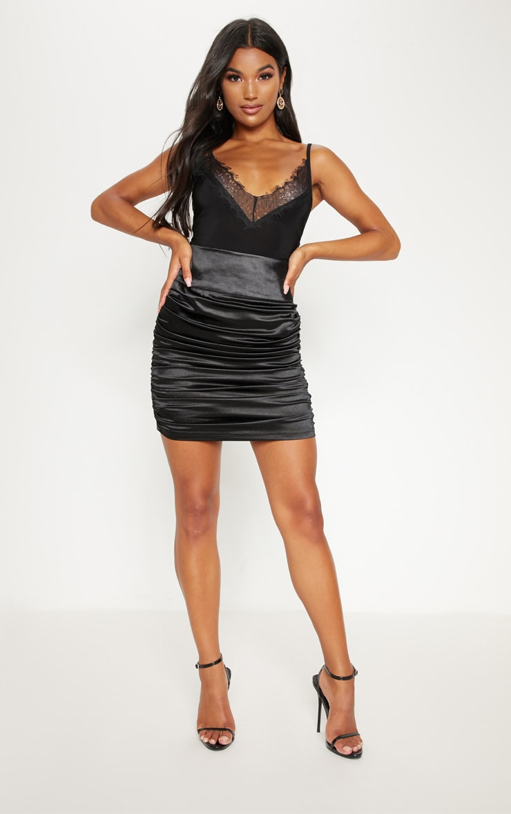 Black Satin Ruche Side Detail Mini Skirt 4