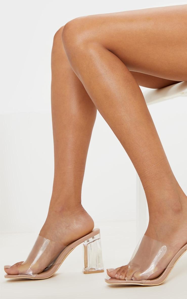 Nude Clear Block Heel Mule 2